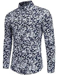 7b12a0a2736fa WWricotta LuckyGirls Camisa para Hombre Camisetas de Manga Larga Originales  Estampado de Flores Caballero Streetwear Casual