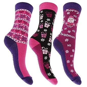Ladies/Womens Christmas Novelty Socks (Pack Of 3) (UK Shoe 4-8) (Design 1)