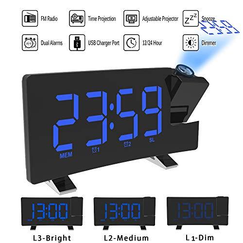 ALLOMN Reloj Despertador de Proyección, Reloj Despertador Digital FM Radio con Pantalla Curva/Proyección de Tiempo/Proyector Ajustable/Posponer/Alarmas Dobles/Puerto de Cargador USB/12/24 Horas (Azul)