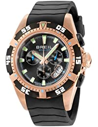 Breil Men's Manta 1970 Swiss-made Chronograph Watch BW0410 with 45mm Rosegold IP Color Case, Black Dial, Black Bezel and Black Rubber Strap