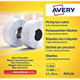 Avery PLP1226 - Rollo de etiquetas (1 línea de adhesivo permanente, 12 x 26 mm, 10 rollos/15000 unidades), color blanco