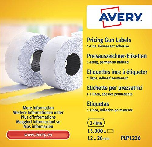 Avery Boîte de 10 rouleaux de 1500 Etiquettes Autocollantes pour Etiqueteuse 1 ligne - 12x26mm - Blanc (PLP1226)