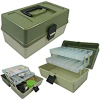 Lunar Box 2 Tray Cantilever Fishing Tackle Box, Adjustable Compartments, reg;