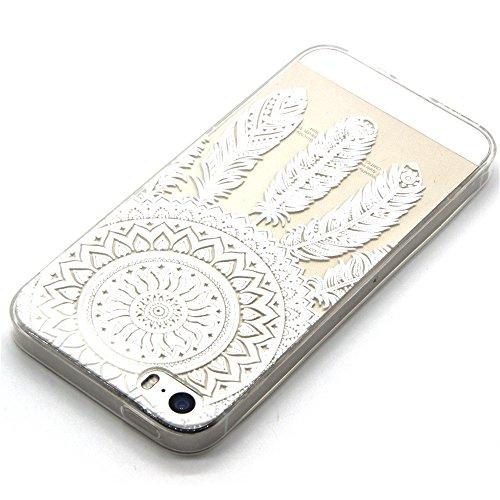iPhone 6 Custodia, iPhone 6S Cover Silicone, iPhone 6S Case, Felfy Rosa Amore Cuore Ancore Stile TPU Trasparente Chiaro UltraSlim Sottile Silicone Gel Protettiva Copertura Tacsa Caso Case Cover per Ap Bianco Del Campanula