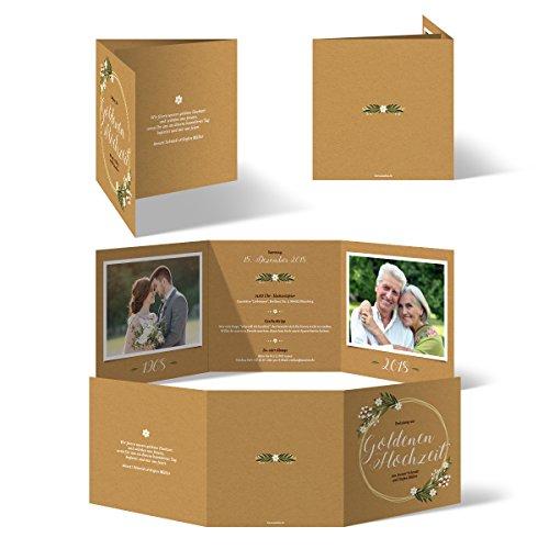 10 x Hochzeitseinladungen Goldhochzeit goldene Hochzeit Einladung individuell - Altgold