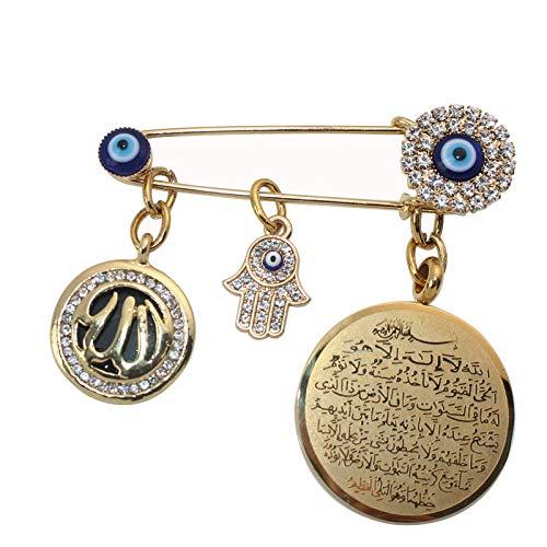 dahuimin Muslim Islam Ayatul Kursi Allah Türkische Evil Eye Hamsa Hand Von Fatima Edelstahl Schal Hijab Brosche Baby Pin
