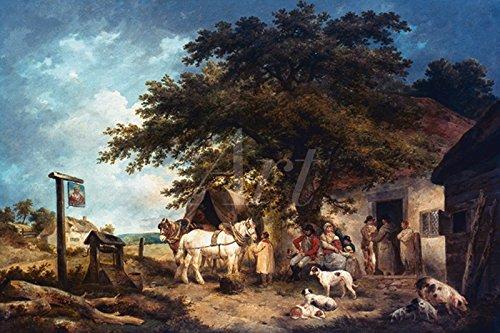 Artland Poster oder Leinwand-Bild fertig aufgespannt auf Keilrahmen mit Motiv George Morland Rast eines Soldaten und seiner Familie, 1795 Landschaften Wiesen & Bäume Malerei Grün C4HV