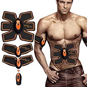 ZHENROG EMS Muskelstimulation Elektrostimulatoren, Muskelstimulator Training Muskelstimulator Elektroden Pads,Bauchmuskeltrainer Damen Herren Elektrisch Muskel Massagegerät (Gelb)