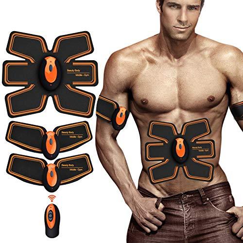 Zhenrog elettrostimolatore per addominali,elettrostimolatore muscolare professionale addome/braccio/gambe/waist/glutei,usb ricaricabile,funzionamento del telecomando senza fili (uomo/donna)