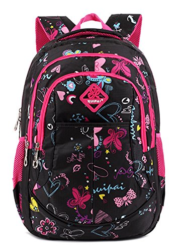 Longzibog Dual verstellbare Schultergurte und Hängeschlaufenband Mode Maedchen Rucksack Schulranzen Black Rosa