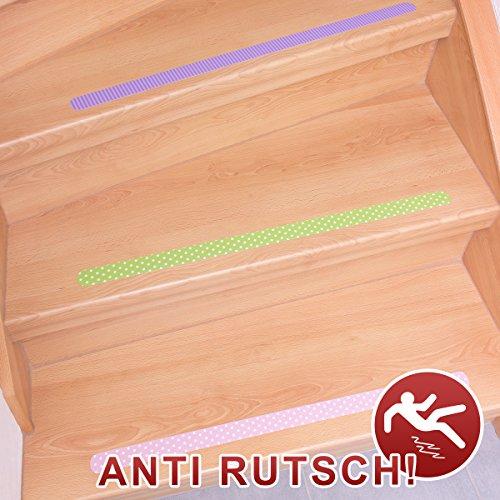 Anti-Rutsch-Streifen / 65 x 3 cm / 12 Stück / bunt gemustert / selbstklebend / für Sicherheit beim Treppensteigen