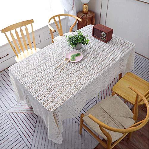 SONGHJ Full Hollow Gestickte Weiße Spitze Gehäkelte Tischdecke Baumwolle Rechteck Tischdecke Home Hotel Textile Decor B 150x300 cm - Gold Gesticktes Spitze