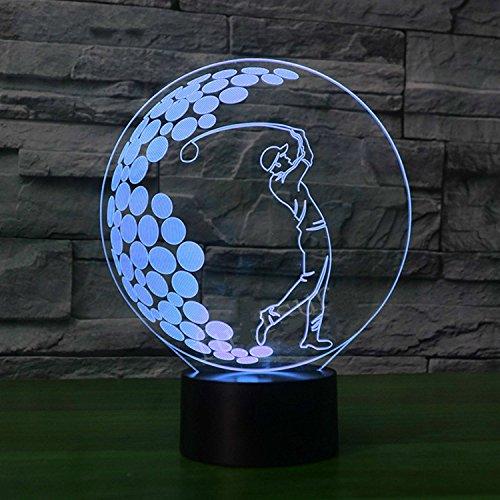 Tabelle Panel (3D optische Täuschung Golf Panel Modell Beleuchtung Nacht 7 Farbwechsel USB Touch Taste LED Schreibtisch Tabellen Licht Lampe)
