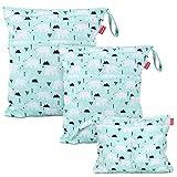Damero 3 Stück windeltasche wetbag wiederverwendbar, Nasstaschen für Unterwegs, Wetbag windelbeutel für Babys Windeln, schmutzige Kleidung und anderes Zubehör