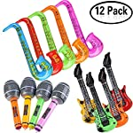 KFYOUXIN Inflatable toy set Party Props Guitar Saxophone Microphone Balloons Musical Instruments Accessories For Party Supplies Favors Random Color (12 Pcs)