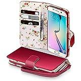 Samsung Galaxy S6 Edge Cover, Terrapin Handy Leder Brieftasche Case Hülle mit Kartenfächer für Samsung Galaxy S6 Edge Hülle Rot mit Blumen Interior