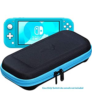 ButterFox Slim Tragetasche für Nintendo Switch Lite (kompaktes Modell), 19 Spiele und 2 Micro-SD-Kartenhalter, Stauraum für Switch Lite Zubehör Blau Türkis/Schwarz Slim