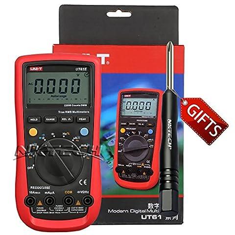 Nktech Tl-1Tournevis Uni-T Ut61e Auto Gamme True RMS multimètre numérique 22000Compte AC DC Tension courant Capacitance fréquence testeur de résistance Mètre avec connecteur RS232