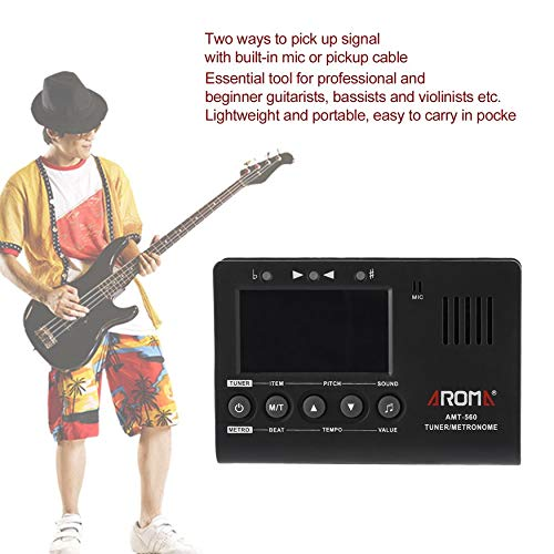 Yaoaomon Aroma AMT-560 Electric Tuner Metronome Tone Generator with Pickup Function Black (Violin Bass Pickups)