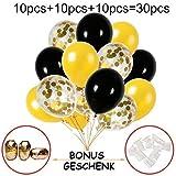 Hook 30 Stück Konfetti Luftballons Schwarz Gold Ballons, Latex Helium Luftballons Ø 30cm mit Goldene Folie Konfetti für Geburtstagsfeier Hochzeit Weihnachten Party und Festival Dekoration(12 Zoll)