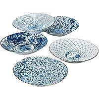 Saikai Pottery 31302 - Juego de platos de porcelana japoneses (ukiyo), diseño indigo