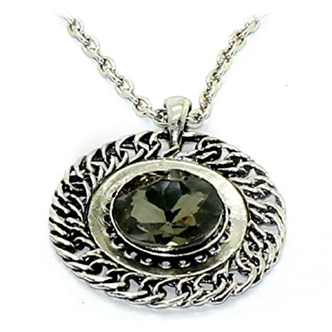 Femmes 25.5-Inch Round Metal Pendant Crystal Inlay Chain Necklace / Jewellery