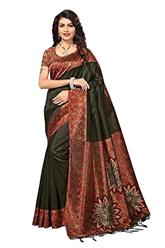 Indira Designer Women's Art Mysore Silk Saree With Blouse (Black)