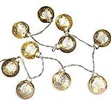 Loberon Lichterkette Jerica, Weihnachtsbeleuchtung, Glas, H/Ø ca. 110/5 cm, Silber