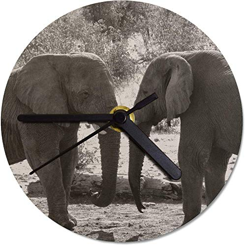 Azeeda 130mm 'Elefantes' Reloj de Pared pequeño MDF (CK00005855)