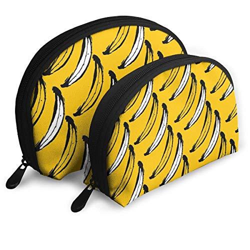 Portable Shell Makeup Storage Bags Banana Wallpaper Travel Waterproof Toiletry Organizer Clutch Pouch for Women Bebe Satin