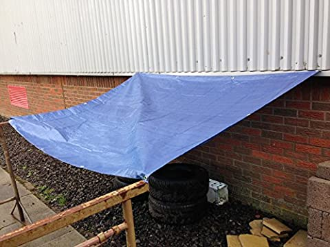 Heavy Duty Blue Tarpaulin Tarp Ground Sheet Waterproof Cover Camping Groundsheet All Sizes From 4 To 24ft / 1.2m To 7.3m (24 x 18 ft / 7.3m x 5.5m)
