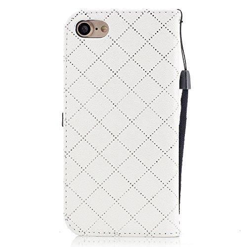 Pour iPhone 7 4.7 inch Coque Lanyard Dragonne Portefeuille étui en cuir PU, pour iPhone 7 4.7 inch Flip magnétique Cas avec support Béquille de carte,Herzzer Créatif Simple Book Style [Plume Conceptio Blanche