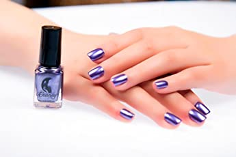 Forthery Mirror Silver Nail Polish Mirror Nail Polish Plating Paste Metal Color Stainless Steel Silver 6ml Purple