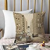 Microfibre Coussin d'oreiller,Musique jazz, Illustration d'un guitariste dans une vieille rue de New York Buildings Music Cityscape, Beig,aie d'oreiller Housses de Coussin décor à la Maison 45 x 45 cm