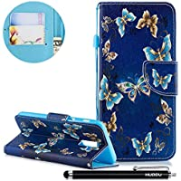Handyhülle Samsung Galaxy J8 2018,HUDDU Golden Schmetterling Flipcase Leder Tasche Hülle in Schwarz Wallet Case... preisvergleich bei billige-tabletten.eu