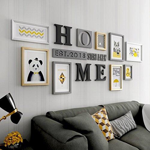Cadre Photo organiser Mur de photo créative Salon de grande taille Cadre de combinaison en bois massif Décoration murale d'arrière-plan (Couleur : Multi-coloredB)