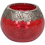 Artefacts Glass Candle Bowl With Candle (11 Cm X 14 Cm X 11 Cm, Silver & Red)