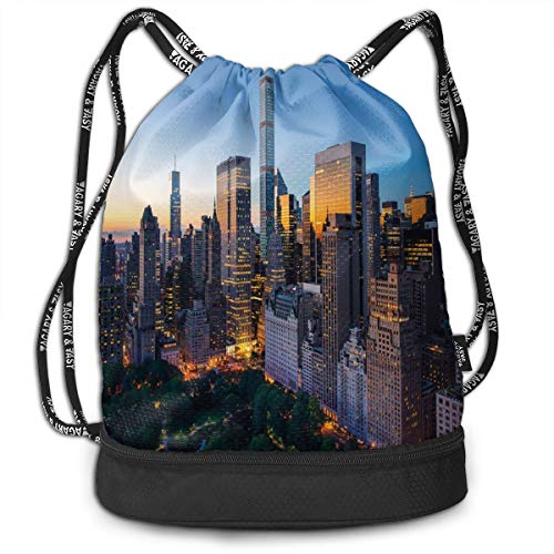 LULABE Printed Drawstring Backpacks Bags,Sun Rising Over Central Park In Manhattan Tranquil Morning Skyscrapers,Adjustable String Closure