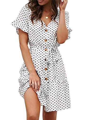 Sommerkleid Damen Kurzarm Elegant V-Ausschnitt Knopfleiste Polka Dot Kurze Strand Freizeitkleider mi Gürtel (1-Dot-Weiß, X-Large) (Für Kleid Frauen Stiefel Winter)