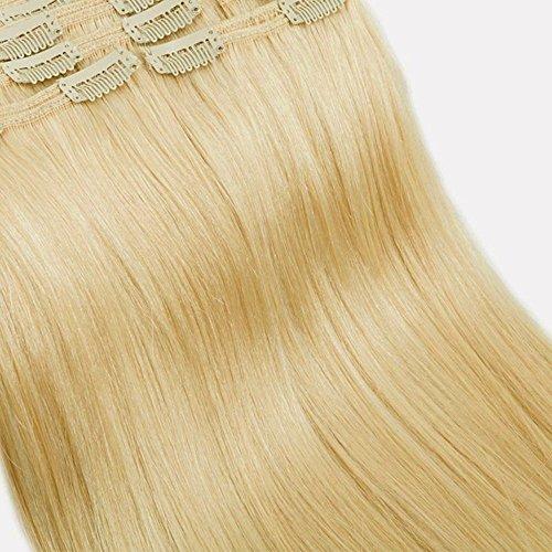 Clip in Extensions Set 100{578675c9638282857a72bcd1ecdfadd79d4cf4dbb0bd049d4539b5a67083063f} Remy Echthaar 8 Teilig Haarverlängerung dick Dopplet Tressen Clip-In Hair Extension (55cm-160g,#613 hellblond)