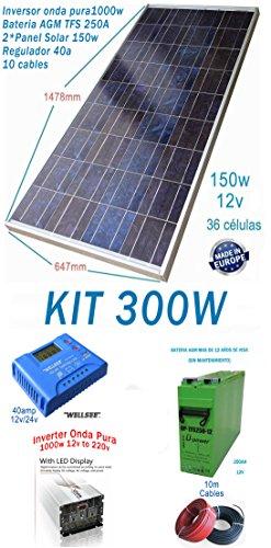 12 V, 300 Wh/1500 W, Akku mit Wechselrichter, Solarpanel-Kabel ()