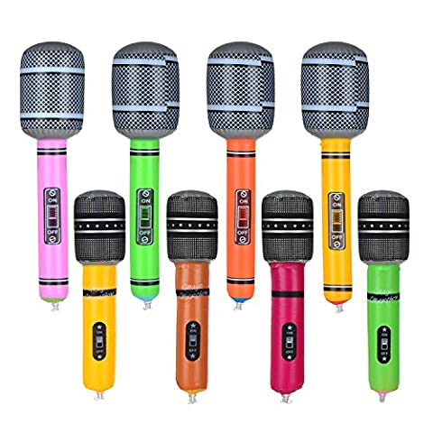 8 Pieces Inflatable Microphone Toy Microphone Set for Party Supplies, Assorted Colors, 2 Sizes