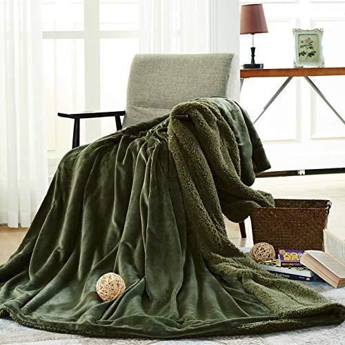Mjdynasty Double-Layer-Decke Flanell Composite-Decke Casual Decke, Achat grün, 150 * 200 -