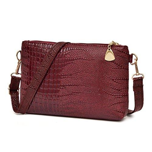 Elecenty Ledertasche Tasche/Umhängetaschen Damen/Schultertasche/ Handtasche /Krokodil-Muster Bag/ Reißverschluss Handytasche/Damen Clutches/Shopper/ Frauen Tragetaschen (23CM, Weinrot)