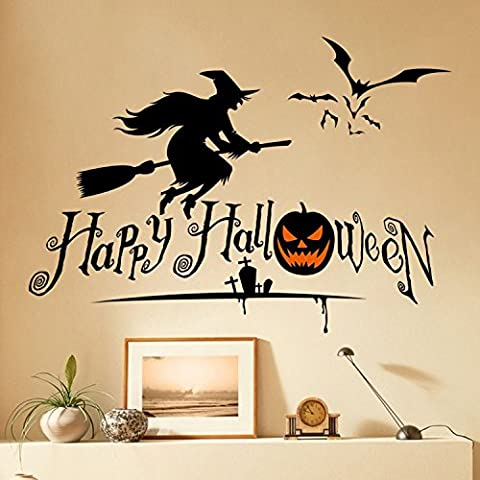 Wall Sticker Happy Halloween Sign With Flying Witch Broom Bats Pumpkin Tombs Black Decal Vinyl Art Holiday Decor Mural For Livingroom Door Mirror Refrigerator Windows Glass Home Kids Rooms Nursery Party Decoration 27x19 Inches by Nia