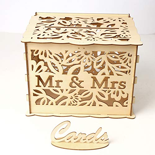 TuToy Diy Wedding Gifts Cards Box Wooden Money Storage With Lock Decor Supplies - l (15 Gift Card Xbox)