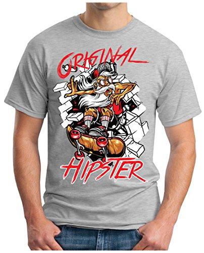 OM3 - ORIGINAL-HIPSTER - T-Shirt GEEK, S - 5XL Grau Meliert