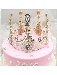 WHUI Vintage Femminile Fatto A Mano Cristallo Corona Decorazione Noble  Queen Pizzo Strass Copricapo Torta Di Compleanno Accessori Da… 877c1fd219dc