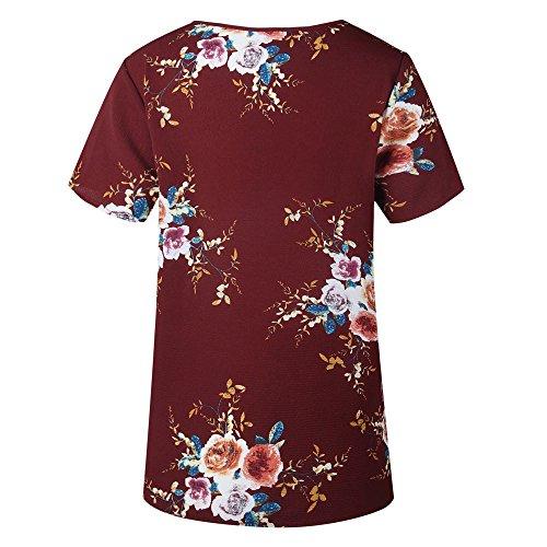 LEvifun Maglietta Donna Maniche Corte Stampa Floreale Estate della Cime Casuale Camicie Camicetta T-Shirt Tops Bluse Rosso