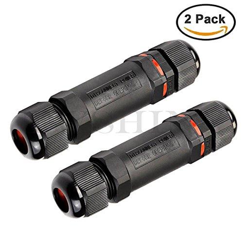 2 Pack 3 Pole IP68 Wasserdichte Anschlussdose Outdoor Kabelgelenk Elektrischer Kabelstecker Schwarz -
